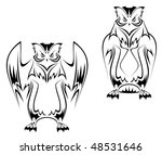 owl tattoo in two variations on ... | Shutterstock . vector #48531646