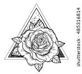 blackwork tattoo flash. rose...   Shutterstock .eps vector #485316814