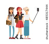 selfie shot of three young... | Shutterstock .eps vector #485317444