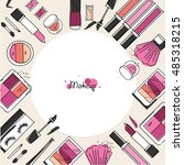 makeup artist pattern. vector...   Shutterstock .eps vector #485318215