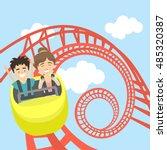 rollercoaster in amusement park.... | Shutterstock .eps vector #485320387