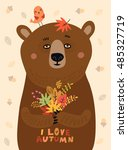 sweetheart illustration. bear... | Shutterstock .eps vector #485327719