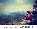 young woman hiker enjoy the... | Shutterstock . vector #485328919