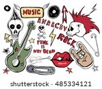 cute embroidery patches and... | Shutterstock .eps vector #485334121