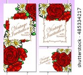 wedding invitation cards with... | Shutterstock . vector #485334217