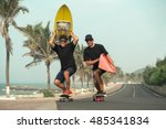 surfers having fun with... | Shutterstock . vector #485341834