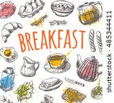 breakfast card with elements of ... | Shutterstock .eps vector #485344411