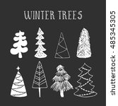 hand drawn winter trees. vector.
