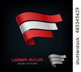 flag of austria  ribbon vector... | Shutterstock .eps vector #485345629