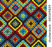 granny squares pattern and... | Shutterstock .eps vector #485349859