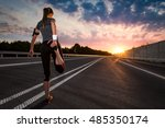 stretching run runner road... | Shutterstock . vector #485350174