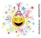 smiley celebrating. high... | Shutterstock .eps vector #485354791