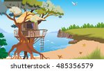 a house on a tree | Shutterstock .eps vector #485356579
