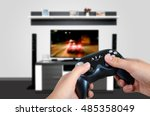 hands hold the game controller. ... | Shutterstock . vector #485358049