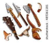 set ancient of hunting and... | Shutterstock .eps vector #485361181