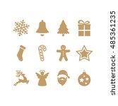 gold christmas icons set | Shutterstock .eps vector #485361235