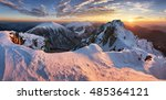 landscape at winter in sunset... | Shutterstock . vector #485364121