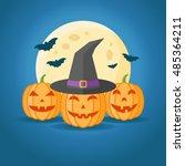 halloween design with pumpkins  ...   Shutterstock .eps vector #485364211