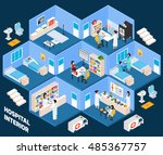 hospital isometric interior... | Shutterstock . vector #485367757
