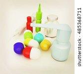 syringe  tablet  pill jar. 3d... | Shutterstock . vector #485368711