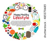 healthy and active lifestyle... | Shutterstock .eps vector #485370685