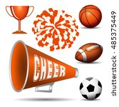 cheer leading. pompom with... | Shutterstock .eps vector #485375449