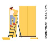 builder to paint the walls | Shutterstock .eps vector #485378491