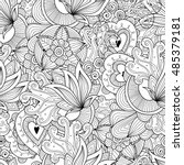doodle black and white abstract ... | Shutterstock .eps vector #485379181