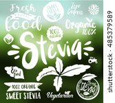 stevia and organic food label... | Shutterstock .eps vector #485379589