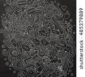 cartoon cute doodles hand drawn ... | Shutterstock .eps vector #485379889