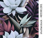 seamless tropical flower  plant ... | Shutterstock . vector #485381281