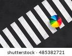 Top View Of A Rainbow Umbrella...