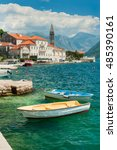 view of the old perast town ... | Shutterstock . vector #485390161