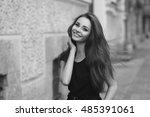 fashion style portrait of young ... | Shutterstock . vector #485391061