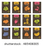 hand drawn fruits posters set.... | Shutterstock .eps vector #485408305