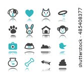 pet icons with reflection... | Shutterstock .eps vector #485408377