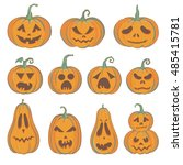 Stock vector set of carved halloween pumpkins with funny and scared faces vector pumpkins isolated on white 485415781