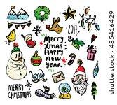 christmas design elements on... | Shutterstock .eps vector #485416429