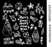 christmas design elements white ... | Shutterstock .eps vector #485416519