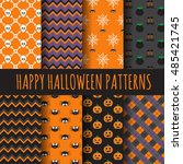 different halloween patterns.... | Shutterstock .eps vector #485421745