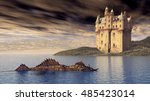 loch ness monster and scottish... | Shutterstock . vector #485423014