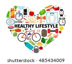 Healthy Lifestyle Heart Emblem...