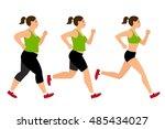 jogging weight loss woman....   Shutterstock .eps vector #485434027
