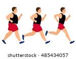 weight loss running man. fat... | Shutterstock .eps vector #485434057