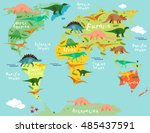 dinosaurs map of the world for... | Shutterstock .eps vector #485437591