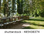 outdoor wedding ceremony... | Shutterstock . vector #485438374