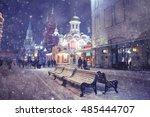 Winter Night Landscape In The...