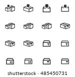 simple set of box and crates... | Shutterstock .eps vector #485450731
