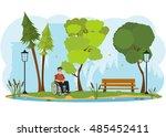 man in a wheelchair on a walk... | Shutterstock .eps vector #485452411