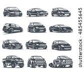 set sport car monochrome labels ... | Shutterstock . vector #485455645